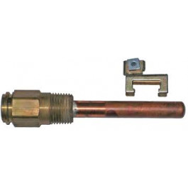 """Honeywell 121371A Copper Immersion Well, 1/2"""" MPT, 3"""" Probe - Copper Fittings"""