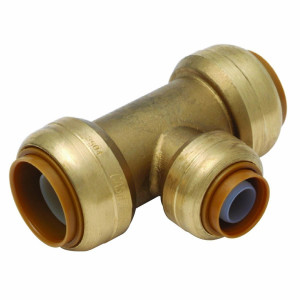 "3/4"" x 3/4"" x 1/2"" Reducing Tee SharkBite Fitting Cash Acme U412LF, Brass Fitting"