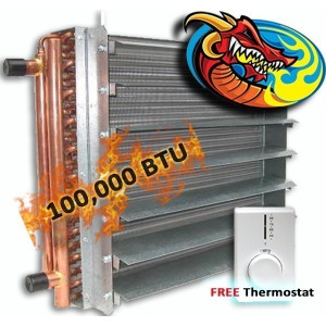 Unit Heater, Hydronic 100,000 BTU, Dragon Breath Wood Boiler *High Quality*