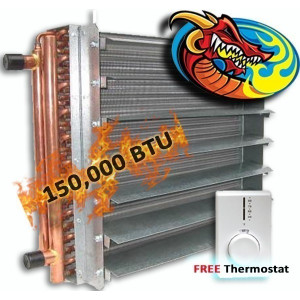 Unit Heater, Hydronic 150,000 BTU, Dragon Breath Wood Boiler *High Quality*