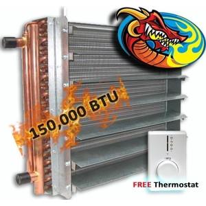 Unit Heater, Hydronic 150,000 BTU, Dragon Breath Wood Boiler *High Quality*