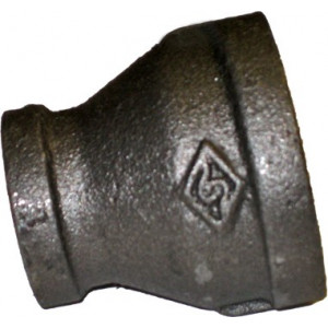"1 1/4"" x 3/4"" Threaded Black Reducing Coupling, Black Fitting"