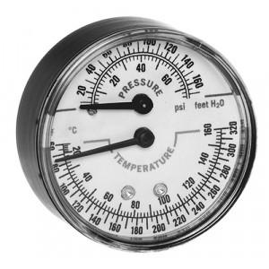 """Honeywell TDV-040 1/2"""" Brass Tridicator, Temperature & Pressure Gauges"""