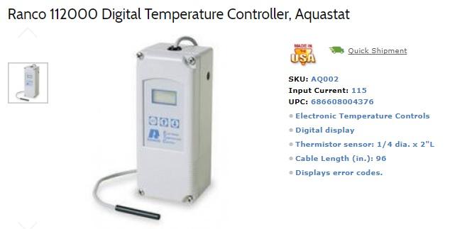 DIY Door Kit Components: Ranco Aquastat
